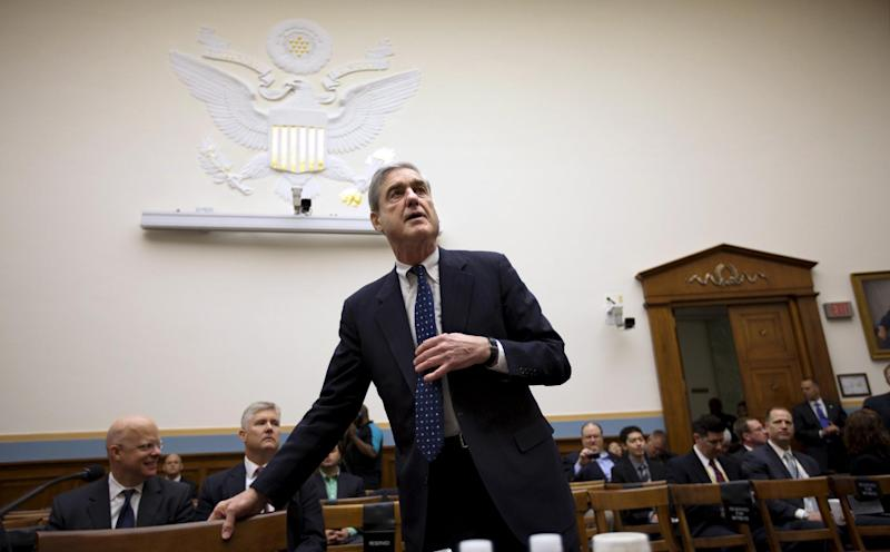 FBI Director Robert Mueller arrives on Capitol Hill in Washington, Wednesday, May 9, 2012, to testify before the House Judiciary Committee. (AP Photo/J. Scott Applewhite)