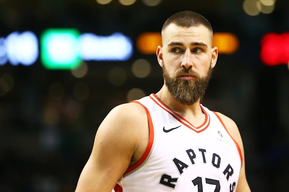 BOSTON, MA - MARCH 31:  Jonas Valanciunas #17 of the Toronto Raptors looks on during a game against the Boston Celtics at TD Garden on March 31, 2018 in Boston, Massachusetts. NOTE TO USER: User expressly acknowledges and agrees that, by downloading and or using this photograph, User is consenting to the terms and conditions of the Getty Images License Agreement. (Photo by Adam Glanzman/Getty Images)