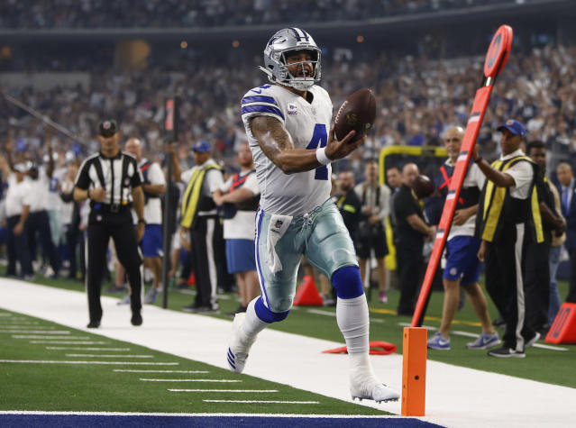 "Without much fanfare, <a class=""link rapid-noclick-resp"" href=""/nfl/players/29369/"" data-ylk=""slk:Dak Prescott"">Dak Prescott</a> has posted top-10 numbers over the past several weeks. Another QB1-level line is on deck against New Orleans. (AP Photo/Ron Jenkins)"