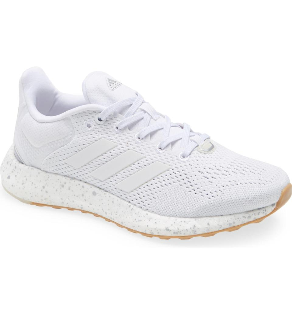 """<h2>Adidas PureBoost 21 Primegreen Running Shoe</h2><br>""""I usually wear my Nikes at the gym and wear Adidas shoes more casually because I think they go better with outfits than workout clothes. These white speckled Adidas sneakers look perfect for those days I want extra comfy walking shoes and I love that they're made from recycled materials. Also under $100? I'm sold.""""<br><br><em>Shop </em><a href=""""https://www.nordstrom.com/brands/adidas--1137"""" rel=""""nofollow noopener"""" target=""""_blank"""" data-ylk=""""slk:Adidas"""" class=""""link rapid-noclick-resp""""><em><strong>Adidas</strong></em></a><br><br><strong>Adidas</strong> PureBoost 21 Primegreen Running Shoe, $, available at <a href=""""https://go.skimresources.com/?id=30283X879131&url=https%3A%2F%2Fwww.nordstrom.com%2Fs%2Fadidas-pureboost-21-primegreen-running-shoe-women%2F5816757"""" rel=""""nofollow noopener"""" target=""""_blank"""" data-ylk=""""slk:Nordstrom"""" class=""""link rapid-noclick-resp"""">Nordstrom</a>"""