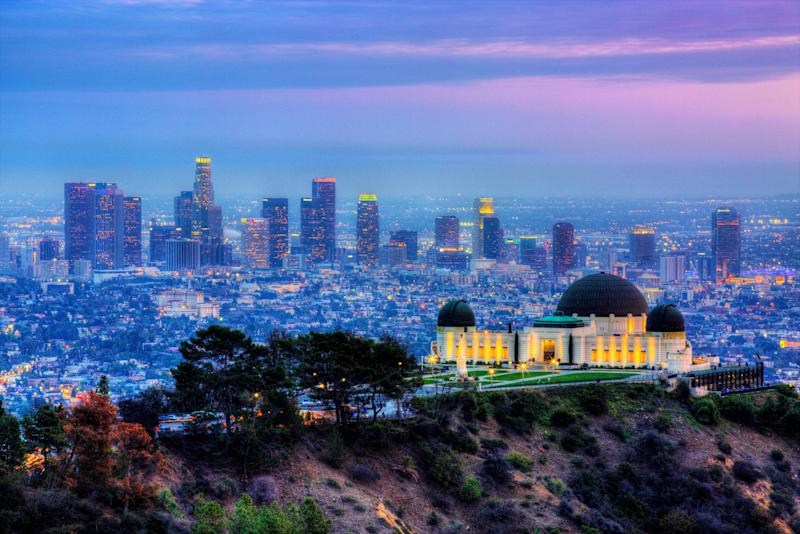 Griffith Observatory with cityscape in background, Los Angeles, California, USA