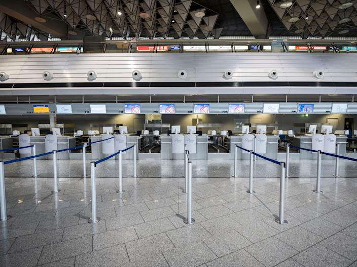Closed counters at Frankfurt Airport in Germany.