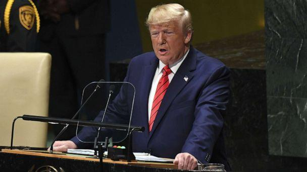 PHOTO: President Donald Trump speaks during the 74th Session of the United Nations General Assembly at UN Headquarters in New York, Sept. 24, 2019. (Saul Loeb/AFP/Getty Images)