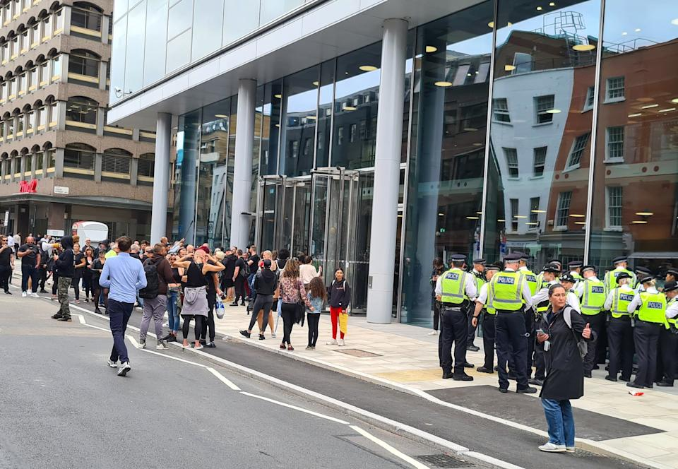 Picture taken with permission from the twitter feed of @atapushmaybe of anti-vaccine protesters at the offices of ITN on Grays Inn Road, London. Picture date: Monday August 23, 2021.