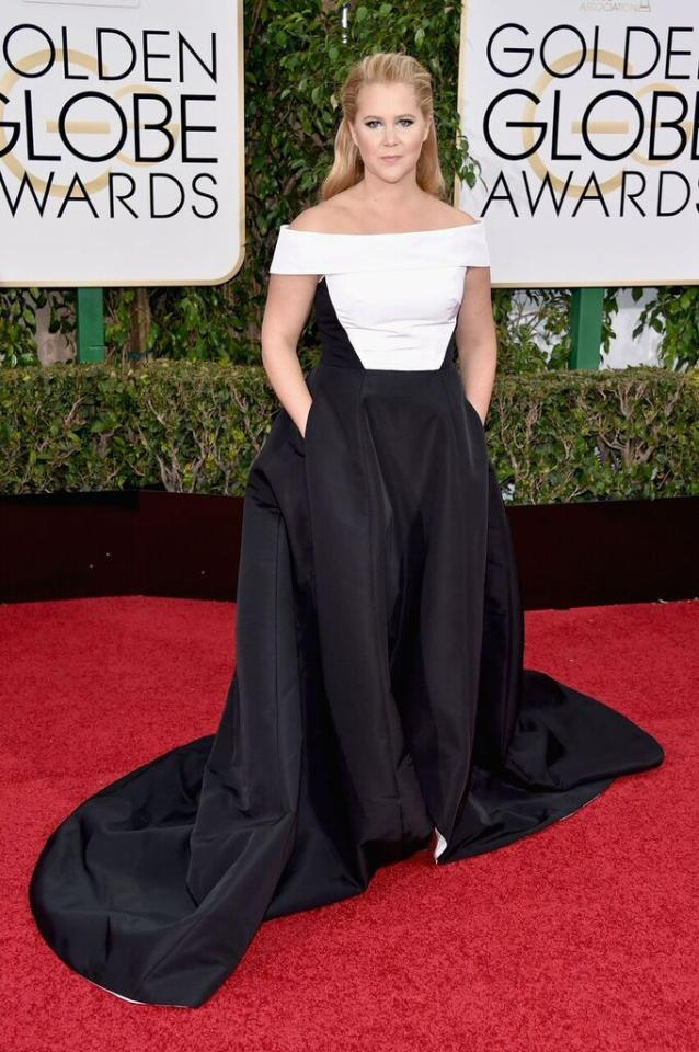 Worst: Amy Schumer in Prabal Gurung at the 73rd Annual Golden Globe Awards.