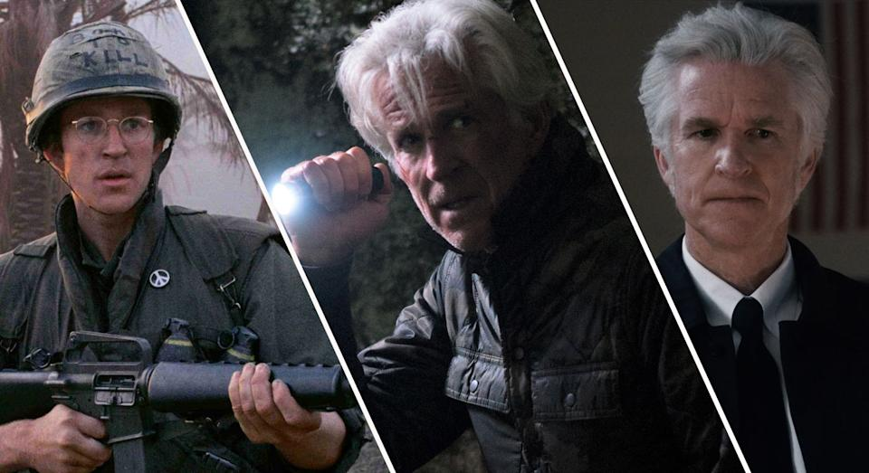 A composite image showing Matthew Modine in (L-R) Full Metal Jacket, Wrong Turn, and Stranger Things (Warner Bros, Signature Entertainment, Netflix)