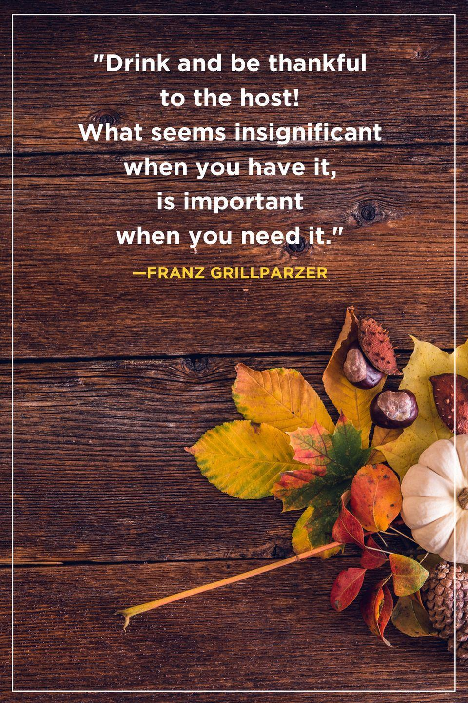 """<p>""""Drink and be thankful to the host! What seems insignificant when you have it, is important when you need it.""""</p>"""
