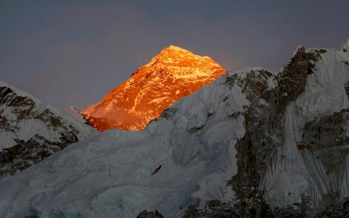 FILE - In this Nov. 12, 2015, file photo, Mt. Everest is seen from the way to Kalapatthar in Nepal