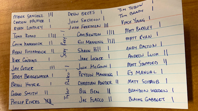 A list of 38 quarterbacks with tallies next to their names stumped everyone who looked at it.