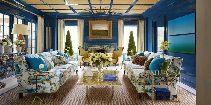 """<p>This <a href=""""https://www.elledecor.com/design-decorate/house-interiors/a8631/most-beautiful-homes-in-east-hampton/"""" rel=""""nofollow noopener"""" target=""""_blank"""" data-ylk=""""slk:Celerie Kemble-designed living room"""" class=""""link rapid-noclick-resp"""">Celerie Kemble-designed living room</a> features a creative mix of accent colors, including soft yellow, which work beautifully with the high-gloss blue walls.</p>"""