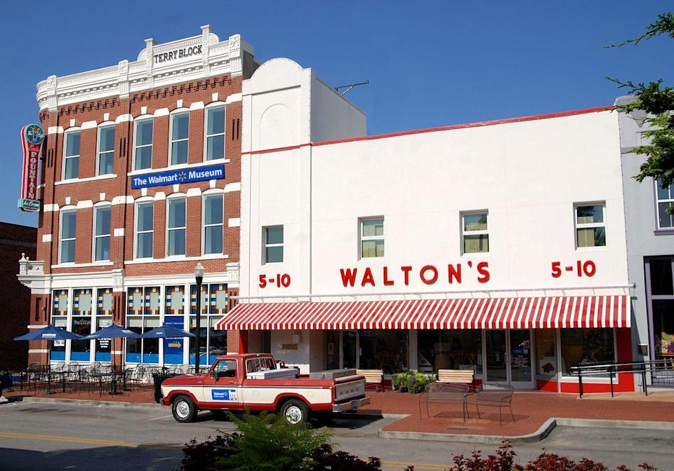 """<p>The original Walton's 5&10 is now home to <a href=""""https://www.walmartmuseum.com"""" rel=""""nofollow noopener"""" target=""""_blank"""" data-ylk=""""slk:The Walmart Museum"""" class=""""link rapid-noclick-resp"""">The Walmart Museum</a>, which houses a Walmart exhibit, the original store, and the retro-themed Spark Café Soda Fountain.</p><p>Photo: Courtesy of Walmart</p>"""
