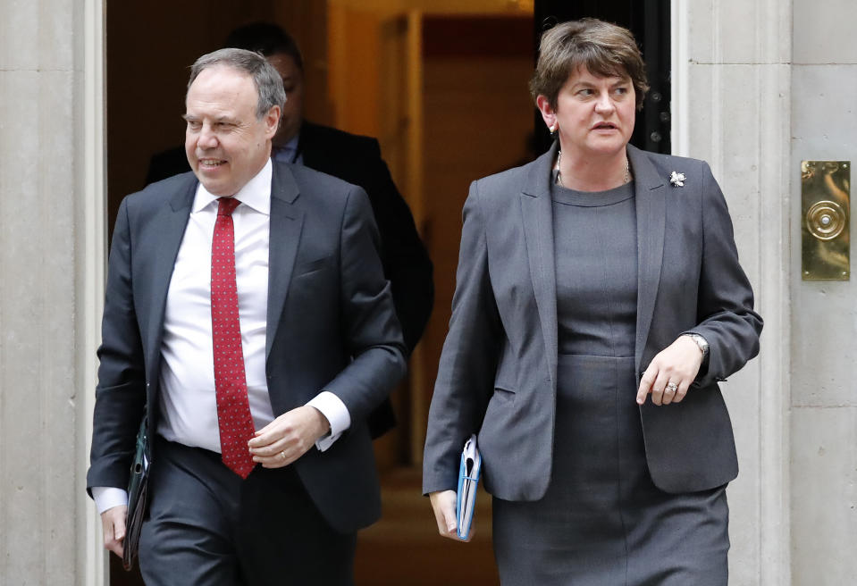 Northern Ireland's Democratic Unionist Party (DUP) leader Arlene Foster (R) and deputy Nigel Dodds leave from 10 Downing Street in central London on September 10, 2019, where they met with Britain's Prime Minister. - British Prime Minister Boris Johnson insisted Tuesday he was working hard to strike a divorce deal with the EU, after he suspended parliament following a series of bruising defeats by MPs over his Brexit plan. (Photo by Tolga AKMEN / AFP)        (Photo credit should read TOLGA AKMEN/AFP/Getty Images)