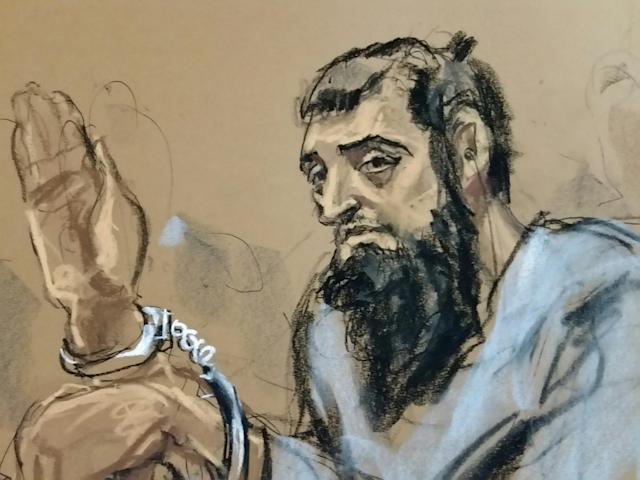 Sayfullo Saipov, the suspect in the New York City truck attack, is seen in this courtroom sketch appearing in a Manhattan federal courtroom in a wheelchair. (Photo of sketch: Jane Rosenberg/Reuters)