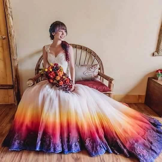 Tie dye wedding dress