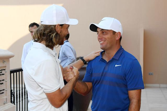 "<div class=""caption""> Fleetwood shakes hands with Molinari after the Italian closed out the 2018 Race to Dubai title. </div> <cite class=""credit"">Ross Kinnaird/Getty Images</cite>"