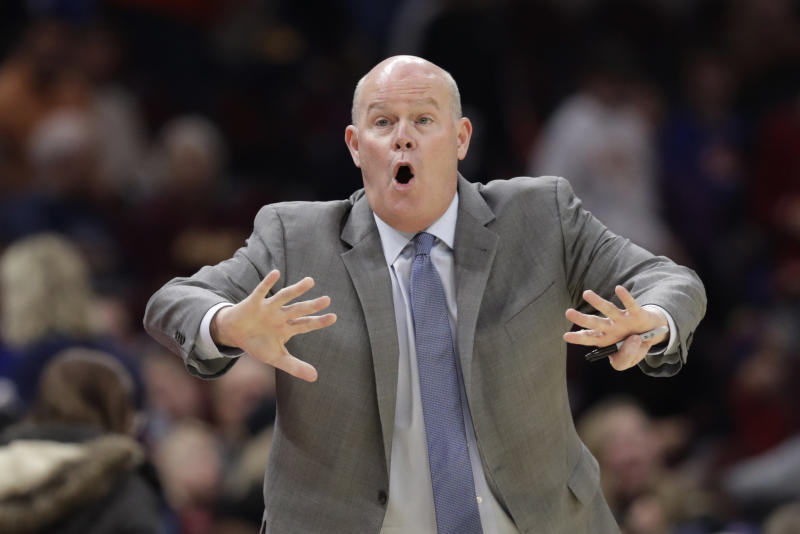 Orlando Magic head coach Steve Clifford yells instructions to players in the first half of an NBA basketball game against the Cleveland Cavaliers, Friday, Dec. 6, 2019, in Cleveland. (AP Photo/Tony Dejak)