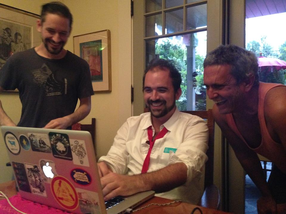 From left: Chris D'Agostino, Jeff Walburn, and Andy Bichlbaum of The Yes Men activist group. Photo: The Yes Men