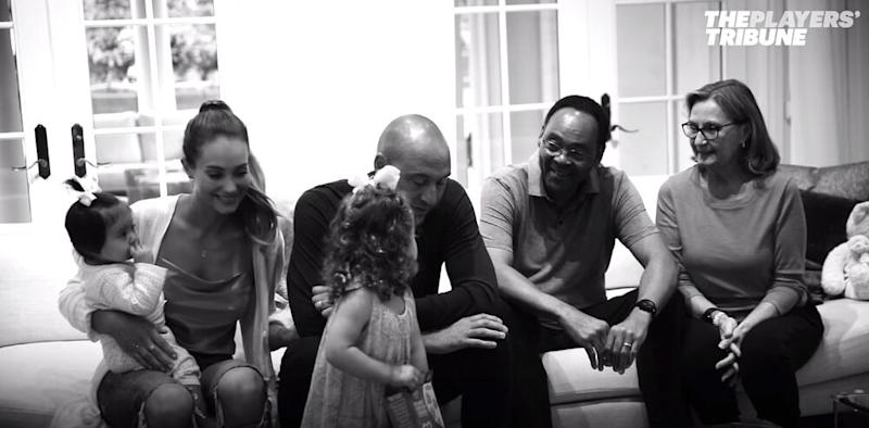 Derek Jeter, wife Hannah and their daughters | The Players' Tribune/Facebook