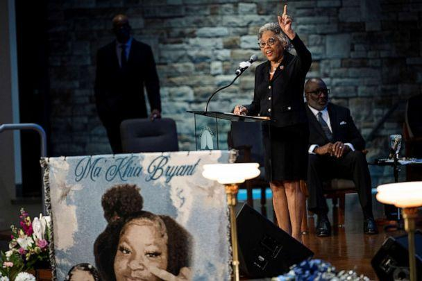 PHOTO: U.S. Rep. Joyce Beatty speaks during the funeral of Ma'Khia Bryant, a Black teenage girl fatally shot by police, in Columbus, Ohio, April 30, 2021.  (Gaelen Morse/Reuters)