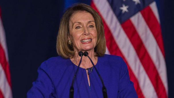 PHOTO: Democratic House Minority leader Nancy Pelosi reacts to early returns from the 2018 midterm general election during a House Democratic Election Night event at the Hyatt Regency in Washington, Nov. 6, 2018. (Erik S. Lesser/EPA via Shutterstock)