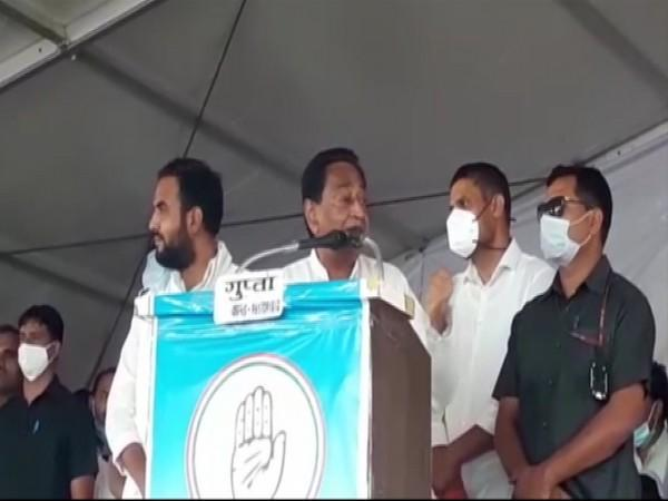 Former CM Kamal Nath addressing a rally in Agar Malwa on Saturday.