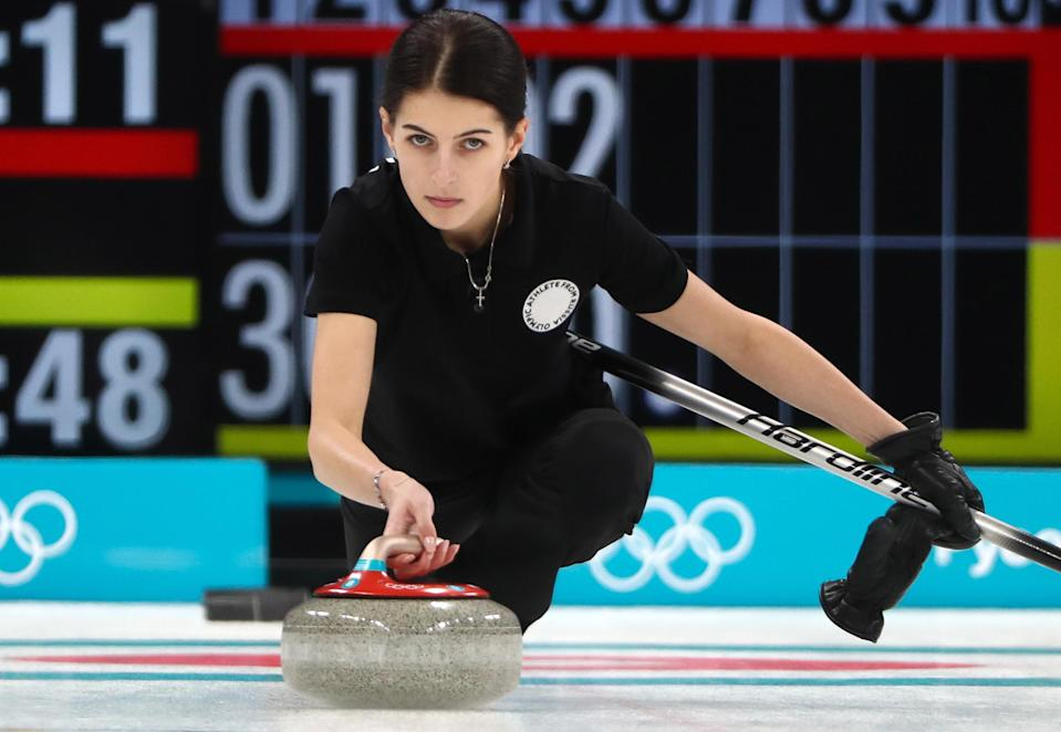 <p>Olympic Athlete from Russia Uliana Vasileva competes against Great Britain in Session 1 of the Women's Round Robin curling competition at the 2018 Winter Olympic Games at Gangneung Curling Centre. Valery Sharifulin/TASS (Photo by Valery Sharifulin\TASS via Getty Images) </p>