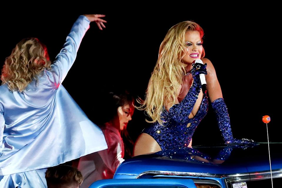 <p>Rita Ora puts on a dazzling performance during the 43rd Sydney Gay and Lesbian Mardi Gras Parade at the SCG on Saturday in Sydney, Australia. </p>