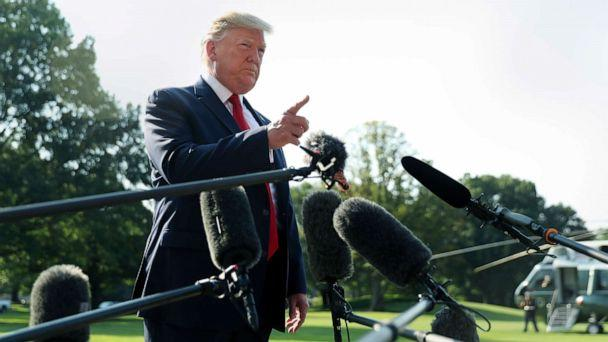 PHOTO: President Donald Trump talks to the press before boarding Marine One for a trip to Dayton, Ohio, and El Paso, Texas, to meet with first responders and console family members and survivors from two recent mass shootings, Aug. 7, 2019. (Andrew Harnik/AP)