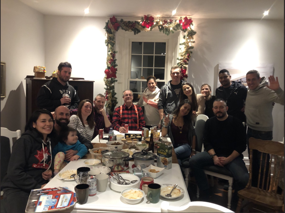 Ontario MPP Randy Hillier posted an image to social media of he and 13 other adults gathered around a dining table in apparent violation of public health COVID-19 guidelines. (Randy Hillier/Twitter)