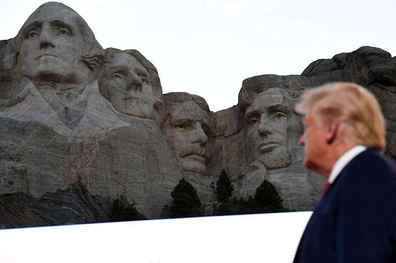 US President Donald Trump arrives for the Independence Day events at Mount Rushmore National Memorial in Keystone, South Dakota, July 3, 2020. (Photo by SAUL LOEB / AFP) (Photo by SAUL LOEB/AFP via Getty Images)