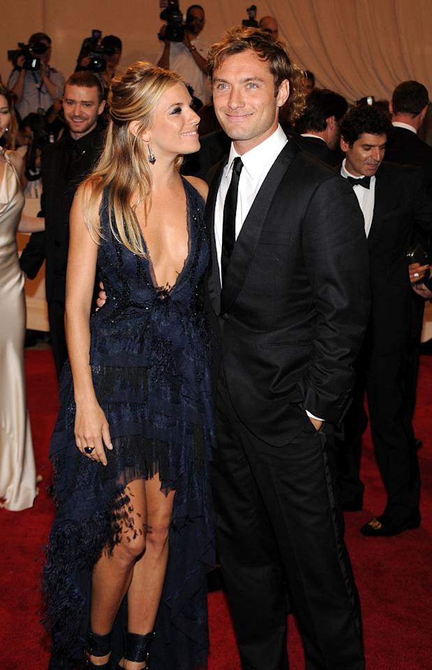 """Sienna Miller, in a divine Emilio Pucci gown, and her beau Jude Law made their first public appearance since reuniting as a couple Monday, walking the red carpet at the 2010 Costume Institute Gala in New York. When asked about their rekindled romance, Law, who was nominated for a Tony award for """"Hamlet,"""" told """"Access Hollywood"""" at the nomination luncheon: """"I'm very happy. I'm very happy to be happy."""" Kevin Mazur/<a href=""""http://www.wireimage.com"""" target=""""new"""">WireImage.com</a> - May 3, 2010"""