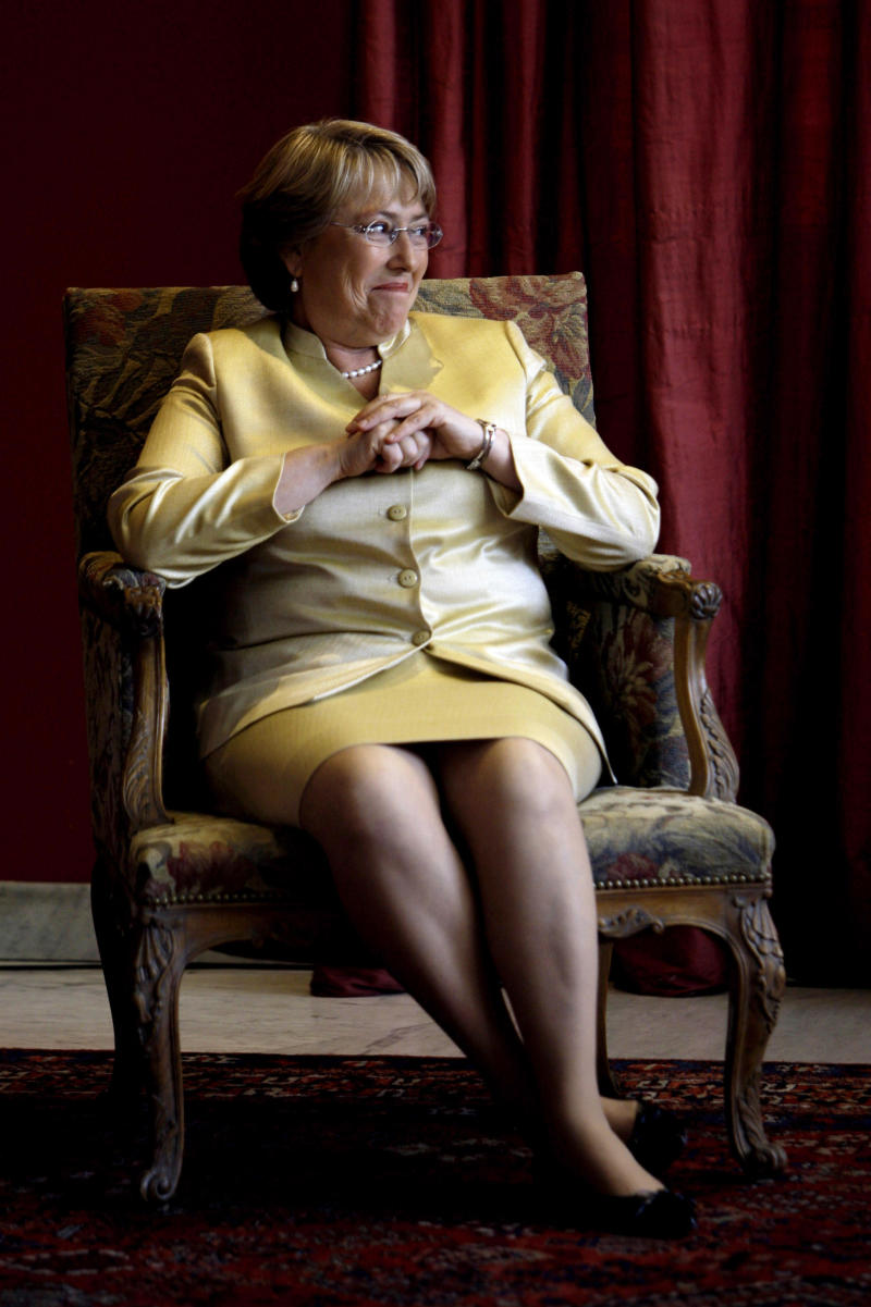FILE - In this Oct. 6, 2008 file photo, Chile's President Michelle Bachelet gestures during the announcement of a new cultural center in Buenos Aires, Argentina.  Although she has been pressured on all sides to announce her candidacy for Chile's 2013 presidential election, Bachelet's silence on the issue has frustrated both opponents and sympathizers. Now, she says she's ready. In March 2013 she is expected to announce her decision on whether she will run. (AP Photo/Natacha Pisarenko, File)