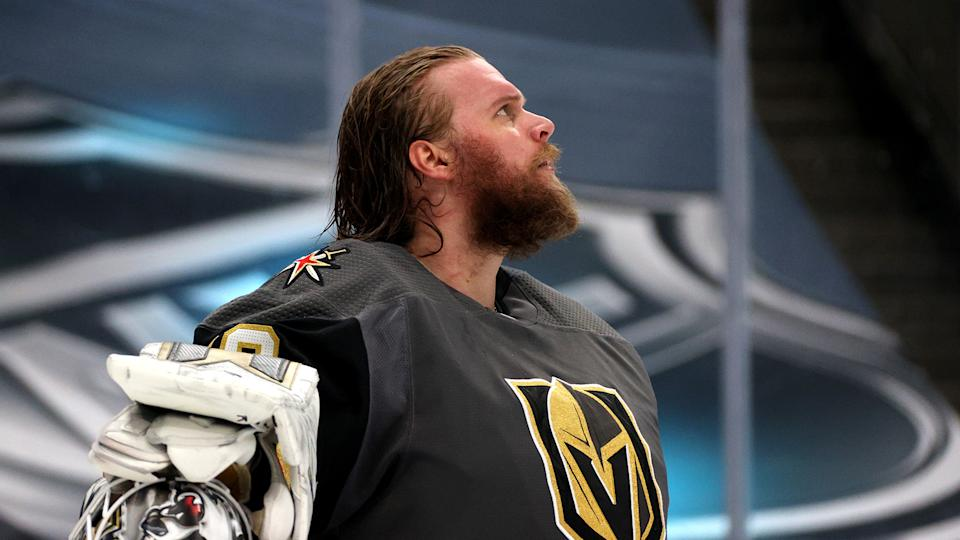 EDMONTON, ALBERTA - SEPTEMBER 14: Goaltender Robin Lehner #90 of the Vegas Golden Knights looks on in the third period of Game Five of the Western Conference Final of the 2020 NHL Stanley Cup Playoffs between the Dallas Stars and the Vegas Golden Knights at Rogers Place on September 14, 2020 in Edmonton, Alberta. (Photo by Dave Sandford/NHLI via Getty Images)