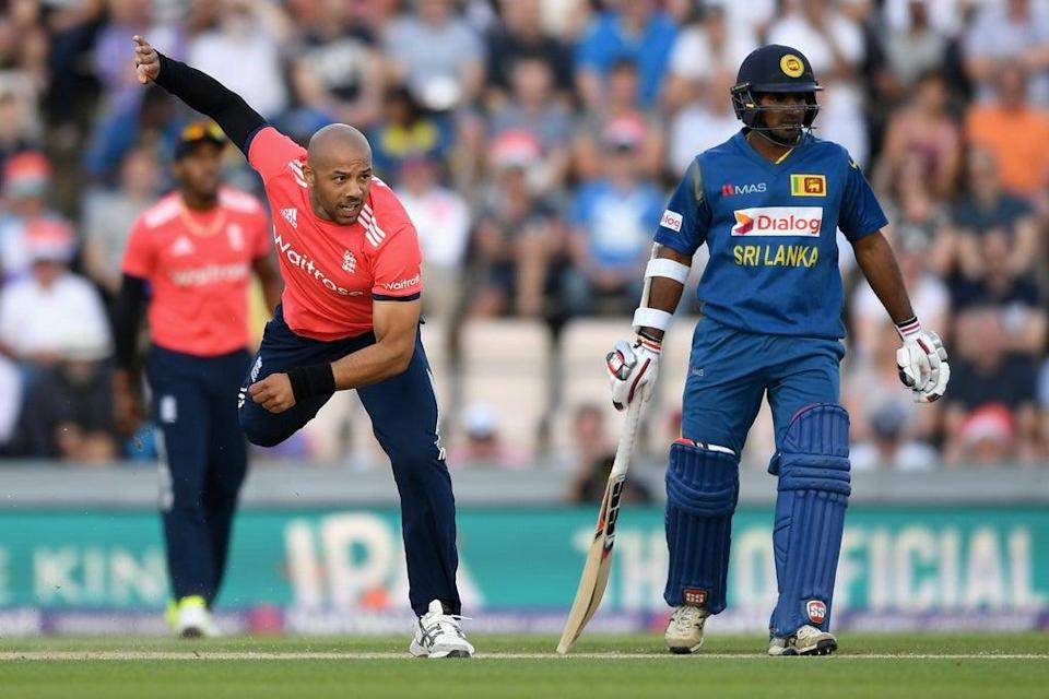 Tymal Mills  in T20 action for England against Sri Lanka in 2016 (Getty Images)