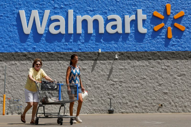 FILE PHOTO: A shopper who refused to wear a mask is seen leaving a Walmart store in Bradford, Pennsylvania