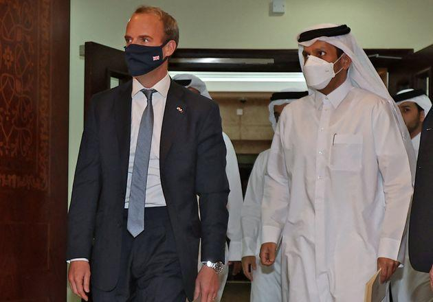 Raab in Qatar to negotiate the safe evacuation of those trapped in Kabul with links to the UK out of Afghanistan (Photo: KARIM JAAFAR via Getty Images)