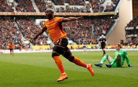 Soccer Football - Championship - Wolverhampton Wanderers vs Birmingham City - Molineux Stadium, Wolverhampton, Britain - April 15, 2018 Wolverhampton Wanderers' Benik Afobe celebrates scoring their second goal Action Images via Reuters/Andrew Boyers