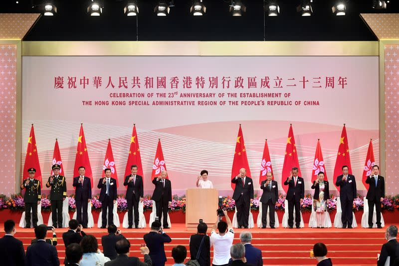 Hong Kong Chief Executive Carrie Lam attends the reception for the 23rd anniversary of the establishment of the Hong Kong Special Administrative Region