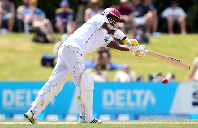 DUNEDIN, NEW ZEALAND - DECEMBER 06: Narsingh Deonarine of West Indies bats during day four of the first test match between New Zealand and the West Indies at University Oval on December 6, 2013 in Dunedin, New Zealand. (Photo by Rob Jefferies/Getty Images)