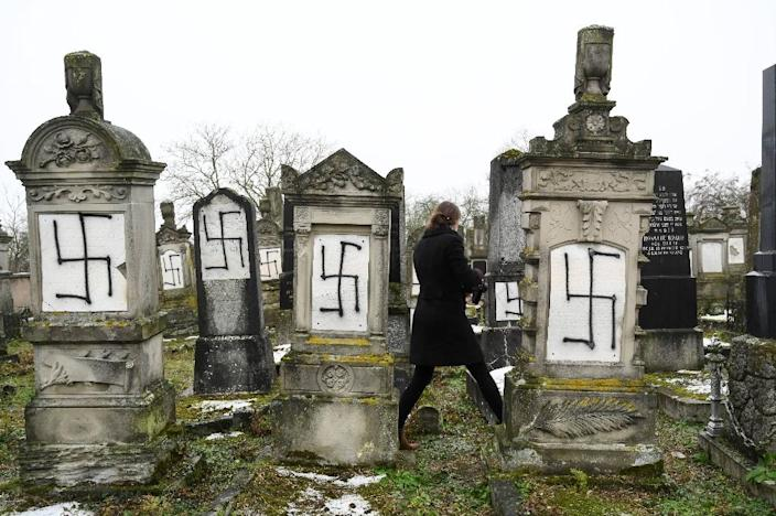 The number of anti-Semitic incidents in France rose by 74 percent last year, with incidents ranging from attacks to vandalism such as this attack on a Jewish cemetery in eastern France in December (AFP Photo/SEBASTIEN BOZON)