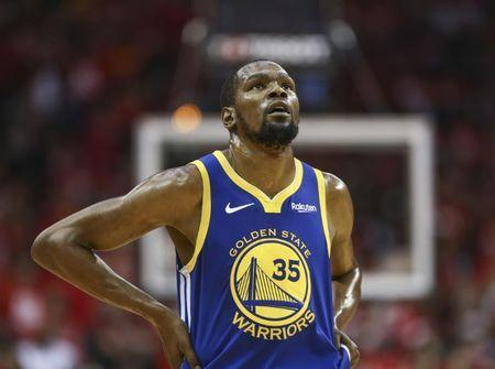 FILE PHOTO: May 6, 2019; Houston, TX, USA; Golden State Warriors forward Kevin Durant (35) reacts after a play during the third quarter against the Houston Rockets in game four of the second round of the 2019 NBA Playoffs at Toyota Center. Mandatory Credit: Troy Taormina-USA TODAY Sports