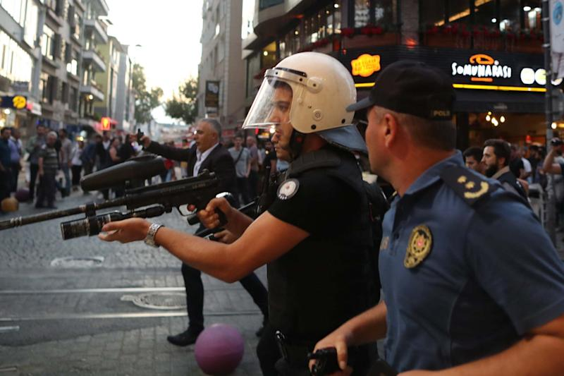 Turkish police use plastic bullets against protesters during a pro-Kurdish party rally in Istanbul: EPA