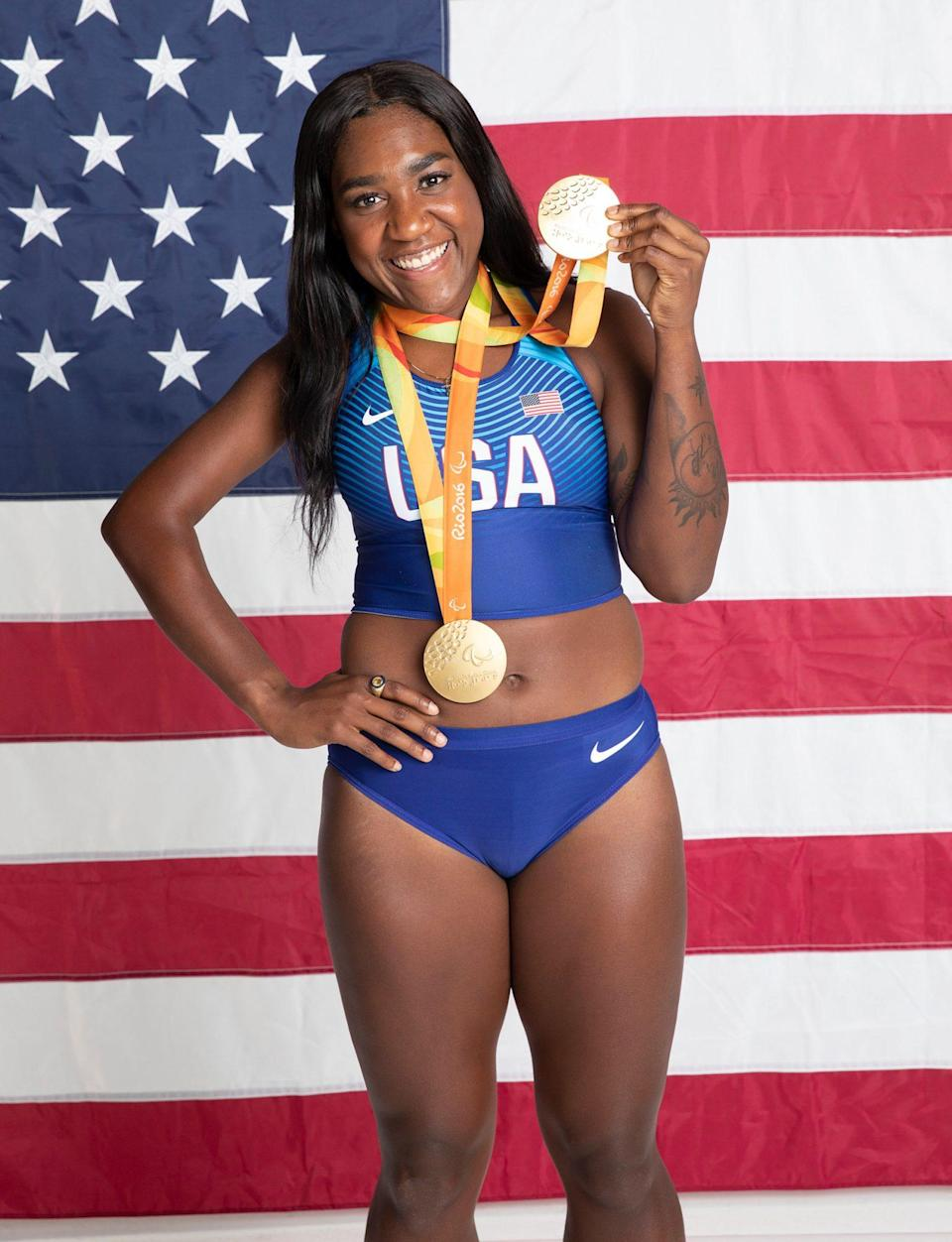 "<p>The track & field Paralympic athlete, 24, is already a two-time gold medalist in the 100m and 200m events. Young was born with a brachial plexus injury that caused nerve damage and limited mobility to her right shoulder. She first started competing in high school and has been candid about struggling with her mental health and a previous suicide attempt. ""What got me through was focusing on my love for athletics,"" <a href=""https://www.paralympic.org/deja-young"" rel=""nofollow noopener"" target=""_blank"" data-ylk=""slk:she previously told"" class=""link rapid-noclick-resp"">she previously told</a> the International Paralympic Committee.</p>"