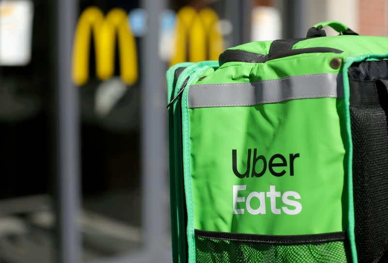 FILE PHOTO: An Uber Eats delivery bag is seen in this photo.