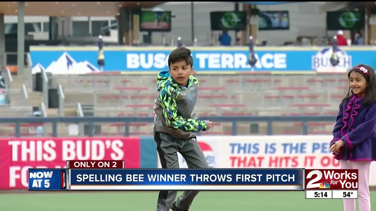 2018 Scripps Green Country Regional Spelling Bee winner Sai Lakkimsetti throws out the first pitch at the Tulsa Drillers baseball game.
