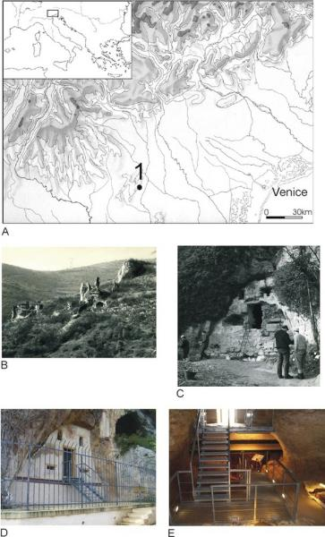 The location and images of San Bernardino Cave in Italy.