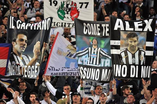 Juventus fans cheer Juventus' forward Alessandro Del Piero prior the final of the Cup of Italy Juventus vs Napoli at the Olympic Stadium in Rome on May 20, 2012. AFP PHOTO / GABRIEL BOUYSGABRIEL BOUYS/AFP/GettyImages