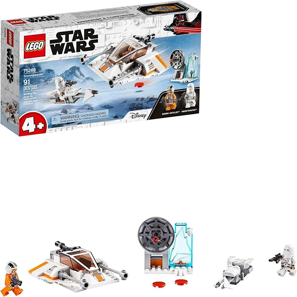 "<p>The <a href=""https://www.popsugar.com/buy/Lego-Star-Wars-Snowspeeder-551177?p_name=Lego%20Star%20Wars%20Snowspeeder&retailer=amazon.com&pid=551177&price=16&evar1=moms%3Aus&evar9=47244751&evar98=https%3A%2F%2Fwww.popsugar.com%2Ffamily%2Fphoto-gallery%2F47244751%2Fimage%2F47244798%2FLego-Star-Wars-Snowspeeder&list1=toys%2Clego%2Ctoy%20fair%2Ckid%20shopping%2Ckids%20toys&prop13=api&pdata=1"" class=""link rapid-noclick-resp"" rel=""nofollow noopener"" target=""_blank"" data-ylk=""slk:Lego Star Wars Snowspeeder"">Lego Star Wars Snowspeeder</a> ($16) has 91 pieces and is best suited for kids ages 4 and up.</p>"