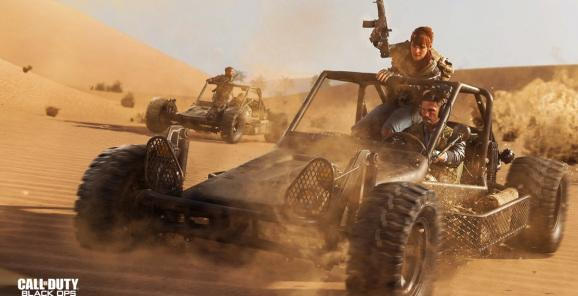 Riding a buggy in the desert in Call of Duty: Black Ops -- Cold War multiplayer.
