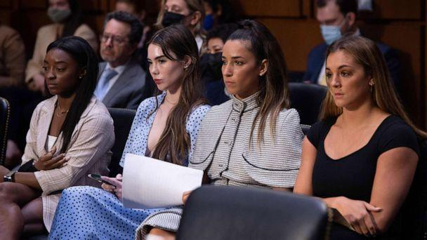 PHOTO: U.S Olympic gymnasts Simone Biles, McKayla Maroney, Aly Raisman and Maggie Nichols, arrive to testify during a Senate Judiciary hearing on Capitol Hill, Sept. 15, 2021, in Washington, D.C. (Saul Loeb/POOL/AFP via Getty Images)